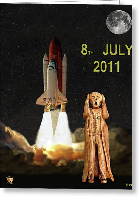Space Shuttle Mixed Media Greeting Cards - Final shuttle mission 8th July 2011 Greeting Card by Eric Kempson