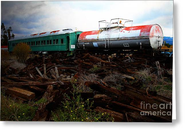 Tanker Train Greeting Cards - Final Stop Express . 7D8995 Greeting Card by Wingsdomain Art and Photography