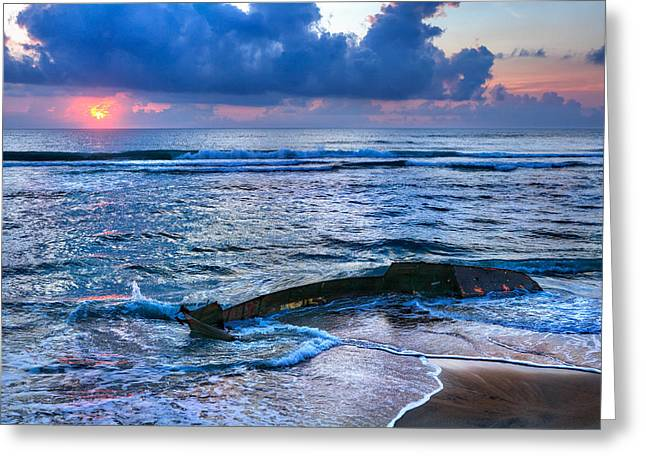 Storm Prints Photographs Greeting Cards - Final Sunrise - Beached Boat on the Outer Banks Greeting Card by Dan Carmichael