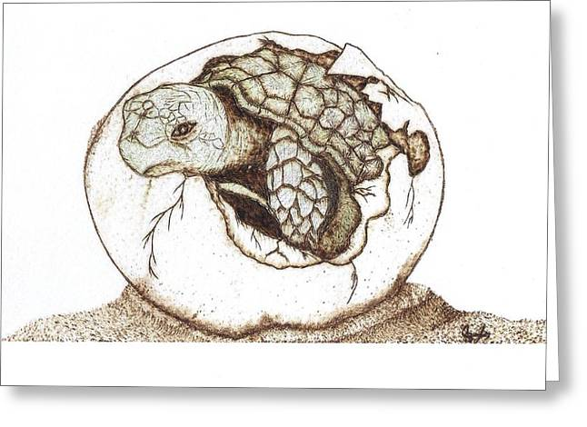 Sketch Pyrography Greeting Cards - Finally Greeting Card by Chad Bridges