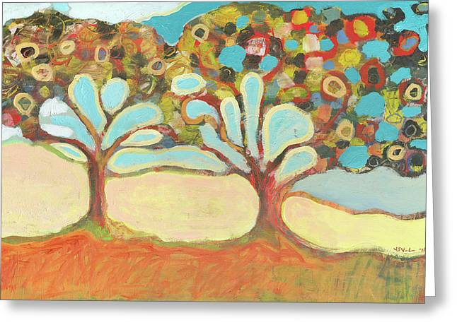 Modern Abstract Paintings Greeting Cards - Finding Strength Together Greeting Card by Jennifer Lommers