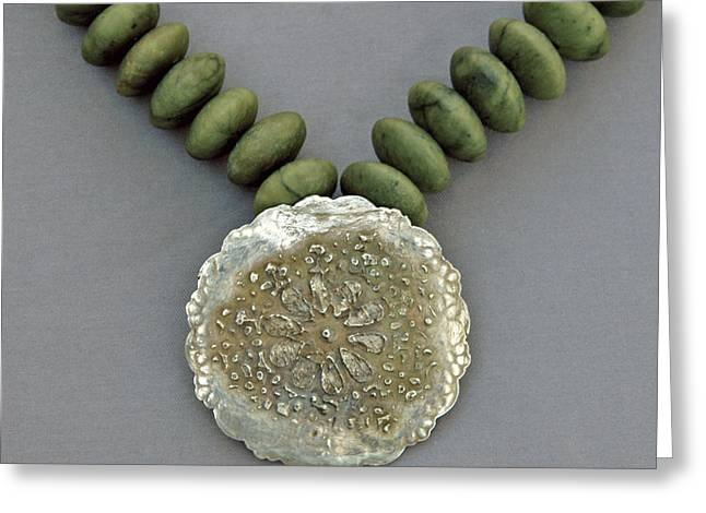 Fine Jewelry Greeting Cards - Fine Silver Doily Pendant On Green Jade Greeting Card by Mirinda Kossoff