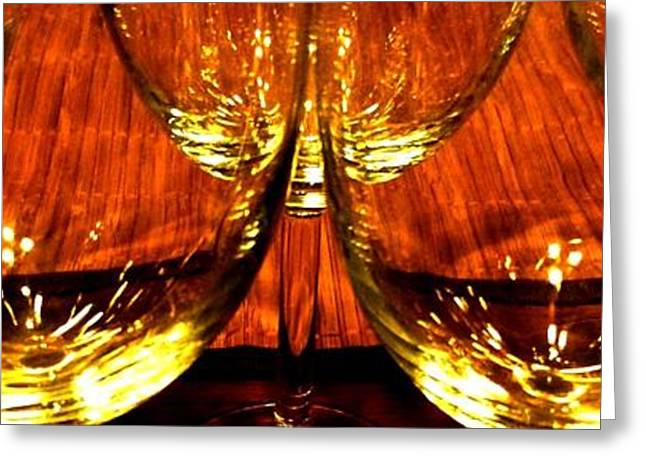 Wine-glass Greeting Cards - Fine Wine And Dine 1 Greeting Card by Will Borden