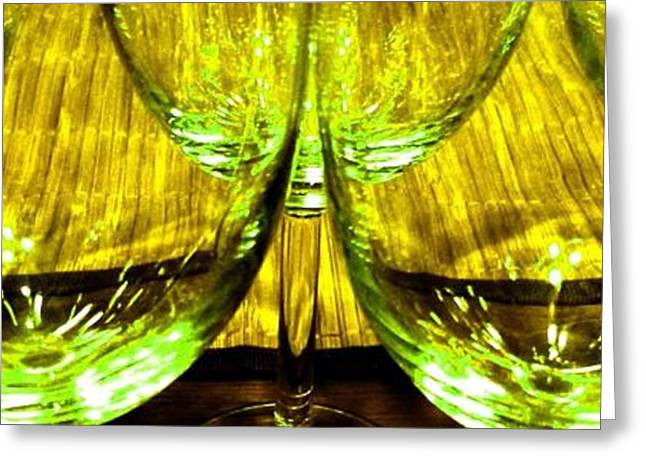 Wine-glass Greeting Cards - Fine Wine And Dine 4 Greeting Card by Will Borden