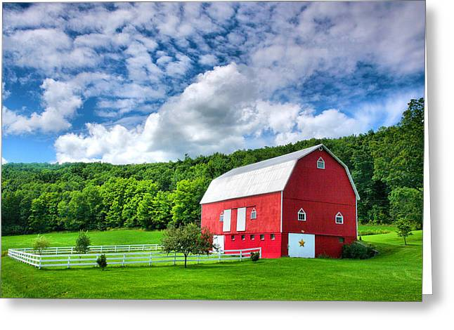Agriculture Framed Prints Greeting Cards - Finger Lakes Barn III Greeting Card by Steven Ainsworth