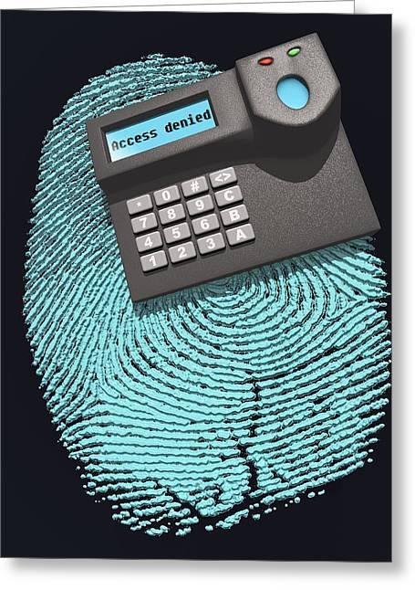 Denying Greeting Cards - Fingerprint Scanner Greeting Card by Laguna Design