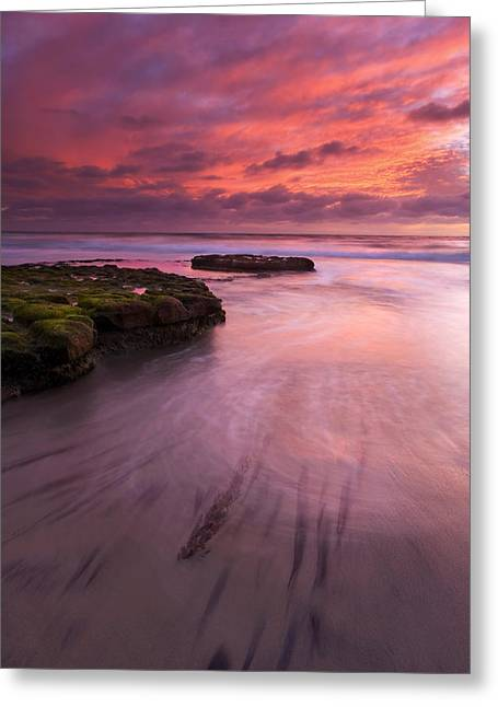 Beach Sunsets Greeting Cards - Fingers of the Tide Greeting Card by Mike  Dawson