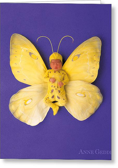 Yellow Butterfly Greeting Cards - Fiona Butterfly Greeting Card by Anne Geddes