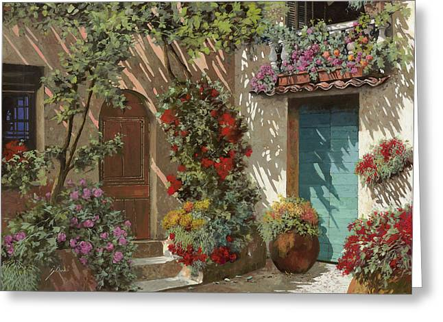 Courtyard Greeting Cards - Fiori In Cortile Greeting Card by Guido Borelli