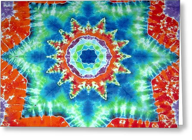 Fiber Art Tapestries - Textiles Greeting Cards - Fire And Ice Greeting Card by Jason Shirek