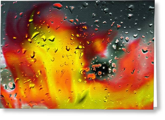 Rain Streaked Window Greeting Cards - Fire and Rain Abstract 2 - Inverted Greeting Card by Steve Ohlsen