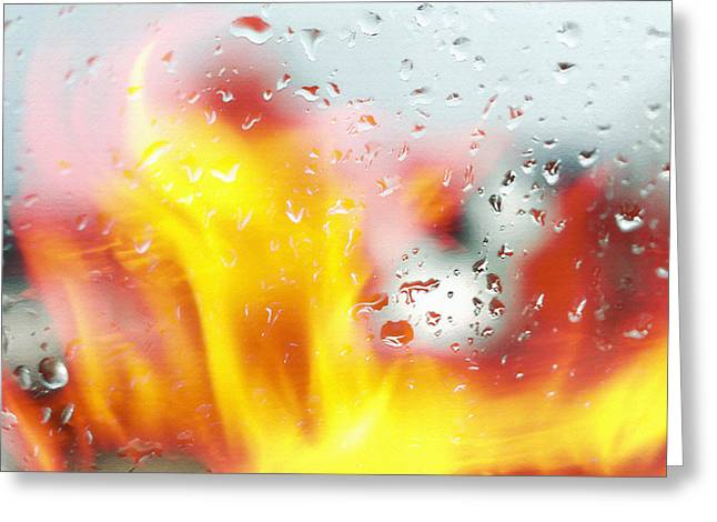 Rain Streaked Window Greeting Cards - Fire and Rain Abstract 2 Greeting Card by Steve Ohlsen