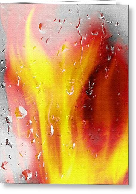 Rain Streaked Window Greeting Cards - Fire and Rain Abstract Greeting Card by Steve Ohlsen