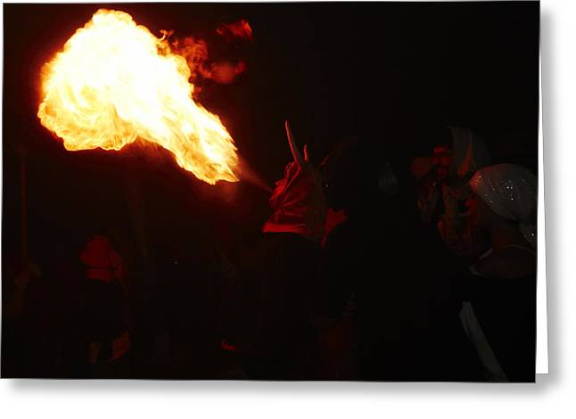 Fuegos Artificiales Greeting Cards - Fire blower Greeting Card by Agusti Pardo Rossello