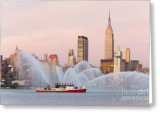 4th July Photographs Greeting Cards - Fire Boat and Manhattan Skyline I Greeting Card by Clarence Holmes