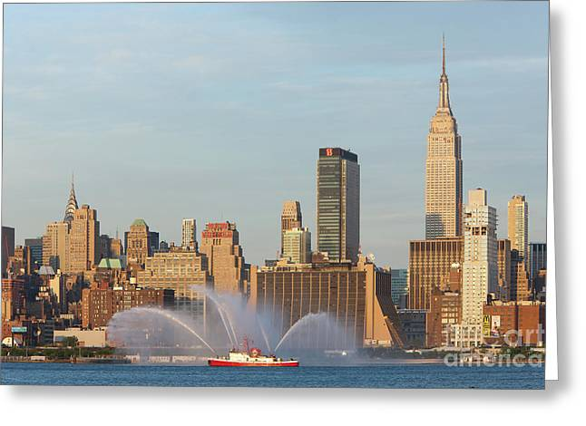 4th July Photographs Greeting Cards - Fire Boat and Manhattan Skyline II Greeting Card by Clarence Holmes