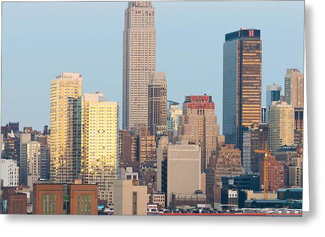 Fire Boat and Manhattan Skyline III  Greeting Card by Clarence Holmes