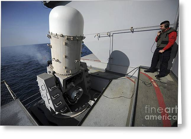 Anti-aircraft Greeting Cards - Fire Controlman Looks On As A Close-in Greeting Card by Stocktrek Images