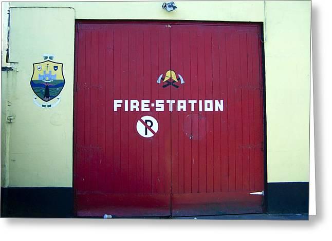 Real Life Greeting Cards - Fire Door in Macroom Ireland Greeting Card by Teresa Mucha