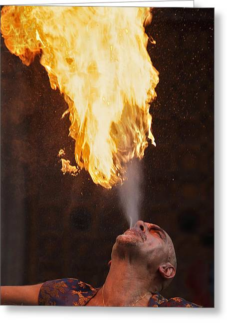 Exibition Greeting Cards - Fire eater 2 Greeting Card by Raffaella Lunelli