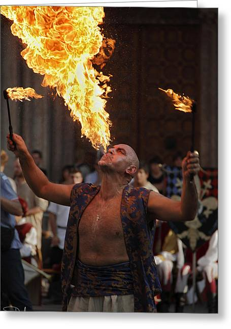 Exibition Greeting Cards - Fire eater Greeting Card by Raffaella Lunelli