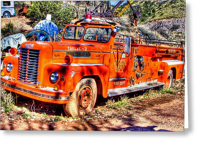 Old Relics Greeting Cards - Fire Engine Greeting Card by Jon Berghoff