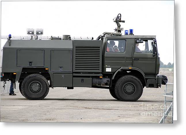 Belgian Army Greeting Cards - Fire Engine Of The Belgian Army Located Greeting Card by Luc De Jaeger