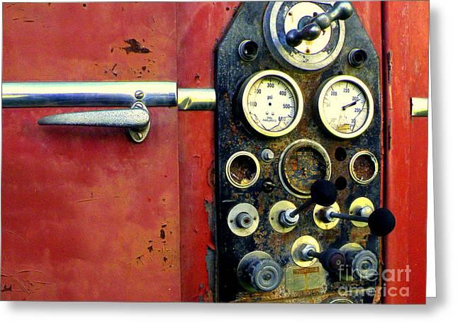 Control Panels Greeting Cards - Fire Engine Red Greeting Card by Joe Jake Pratt