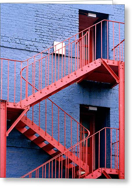 Recently Sold -  - Entrance Door Greeting Cards - Fire Escape Staircase Greeting Card by Victor De Schwanberg