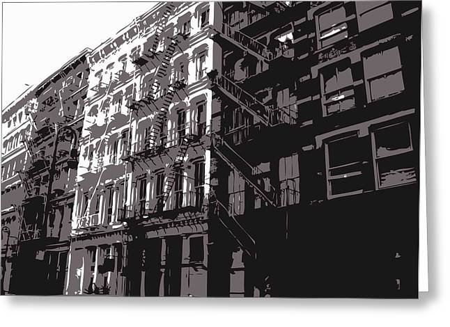 New York City Fire Escapes Greeting Cards - Fire Escapes BW3 Greeting Card by Scott Kelley