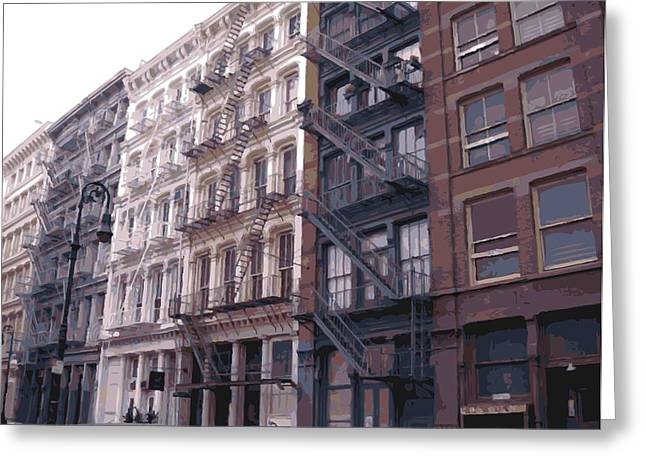 New York City Fire Escapes Greeting Cards - Fire Escapes Color 16 Greeting Card by Scott Kelley