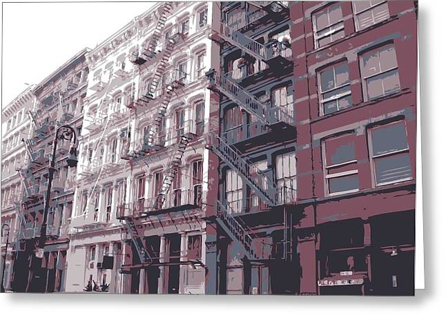 New York City Fire Escapes Greeting Cards - Fire Escapes Color 6 Greeting Card by Scott Kelley