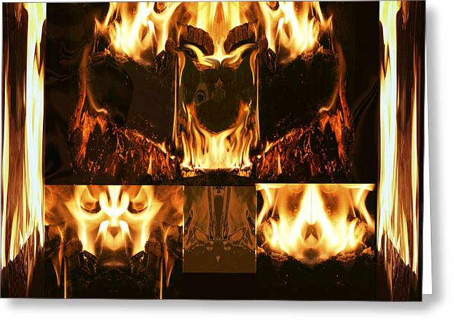 Fire Faces Greeting Card by Janet Kearns