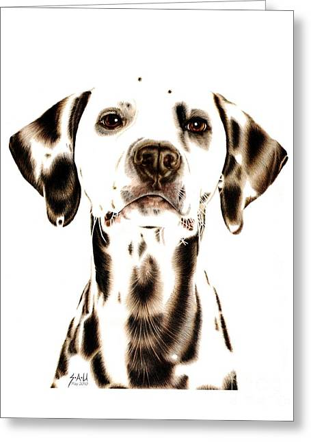 Animal Portrait Greeting Cards - Fire Fighters Best Friend Greeting Card by Sheryl Unwin