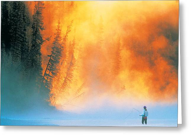Contradictions Greeting Cards - Fire Fly Fishing Greeting Card by Darwin Wiggett