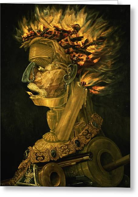 Chained Paintings Greeting Cards - Fire Greeting Card by Giuseppe Arcimboldo