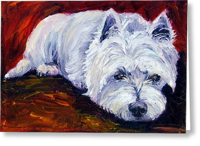 Westie Puppies Greeting Cards - Fire Glow - West Highland White Terrier Greeting Card by Lyn Cook