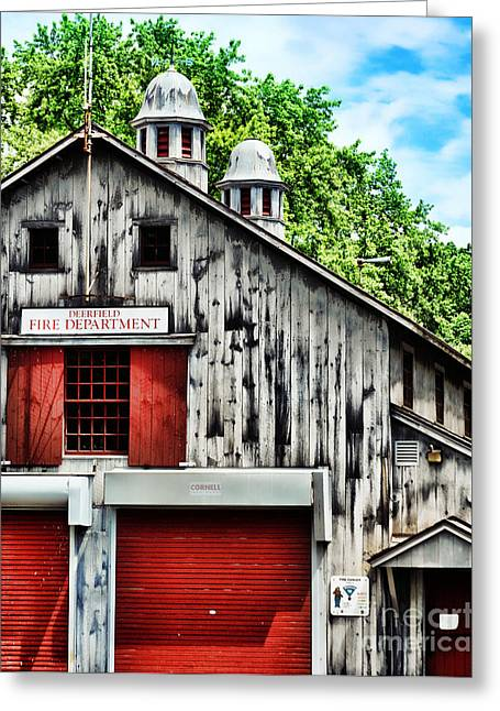 Fire Wood Greeting Cards - Fire House Greeting Card by HD Connelly