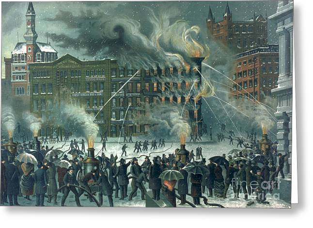 Fire in the New York World Building Greeting Card by American School