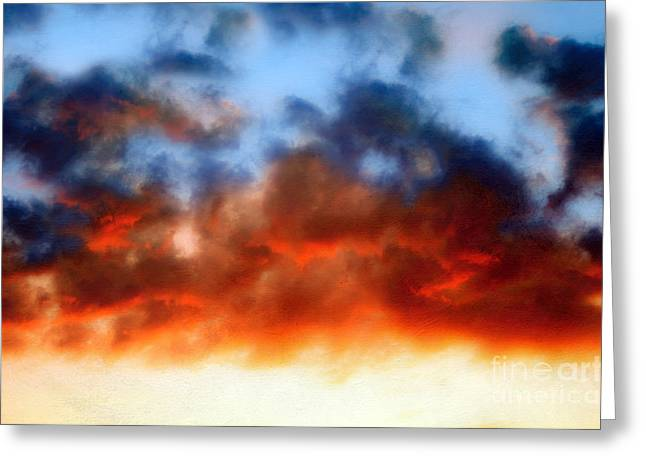 Stormy Weather Mixed Media Greeting Cards - Fire In The Sky Greeting Card by Andee Design