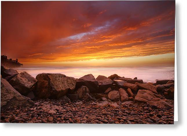 Beach Photography Greeting Cards - Fire in the Sky Greeting Card by Larry Marshall