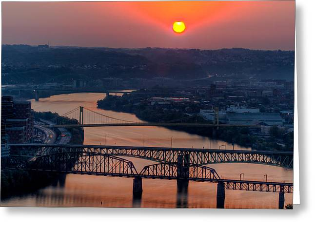 Allegheny Greeting Cards - Fire in the Sky over the Monongahela River Greeting Card by David Hahn