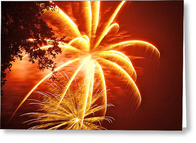 4th July Digital Art Greeting Cards - Fire in the Trees Greeting Card by Phill  Doherty