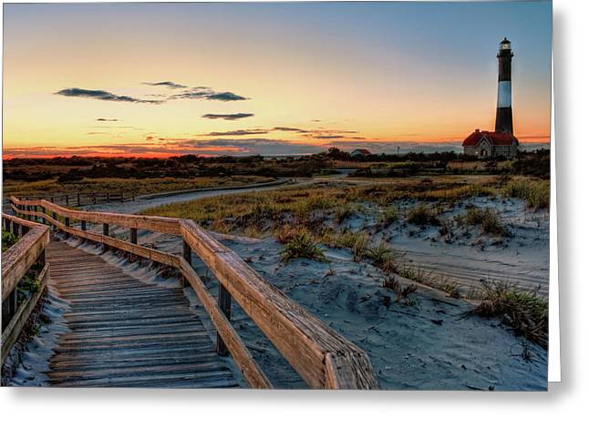 Fire Island Greeting Cards - Fire Island Lighthouse at Robert Moses State Park Greeting Card by Jim Dohms