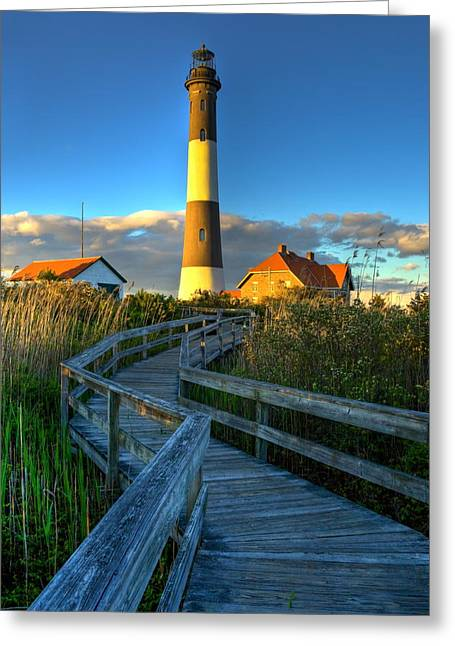 Fire Island Greeting Cards - Fire Island Lighthouse Before Sunset Greeting Card by Jim Dohms