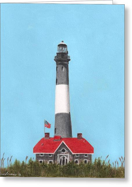 York Beach Paintings Greeting Cards - Fire Island Lighthouse Greeting Card by Bruce Lennon