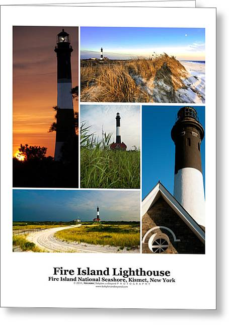 20 X 16 Greeting Cards - Fire Island Lighthouse Poster Greeting Card by Vicki Jauron
