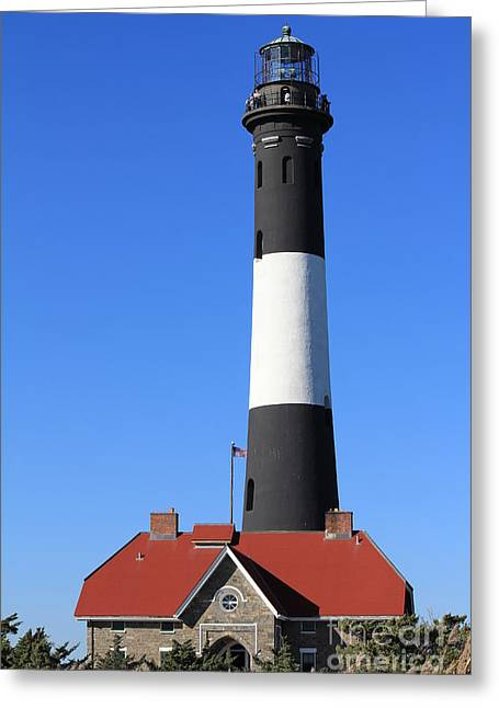 Setting Framed Prints Greeting Cards - Fire Island Lighthouse Greeting Card by Scenesational Photos