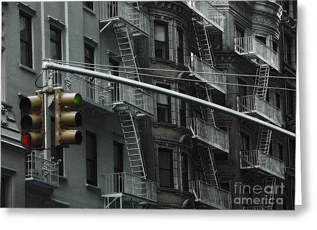 Brigade Greeting Cards - Fire Ladders at Old Houses New York Greeting Card by Design Remix