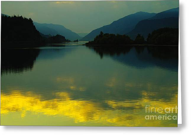 Hood River Oregon Greeting Cards - Fire On The Water  Greeting Card by Jeff  Swan
